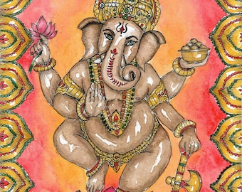 Ganesh Art Print Yoga Art Hindu God Ganesha Pagan Art Hinduism Meditation Art Spiritual Art Sacred Art