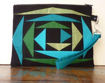 Graphic and colorful patchwork with removable wrist strap clutch / / black, blue and green / / unique / / gift for her