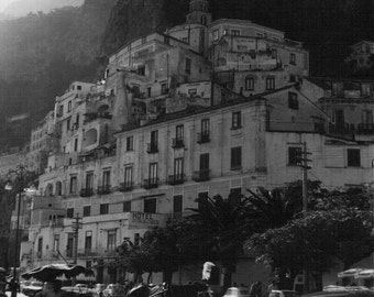 Amalfi Coast, Black and White Prints, Vintage Prints, Coastal Wall Art, Coastal Decor Mediterranean Decor, Italy Photography, Italy Print,