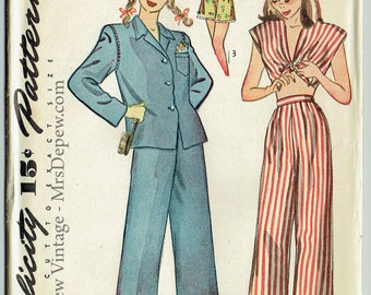 "Vintage Sewing Pattern 1940s Misses' Pajamas Simplicity 1520 Size 32"" Bust - Free Pattern Grading E-book Included"