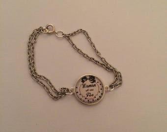 Flexible dome silver MOM bracelet