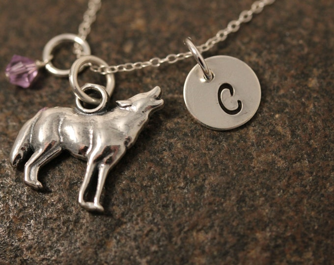 Sterling Silver Hand Stamped Mini Initial Necklace with Howling Wolf Charm and Birthstone
