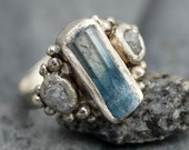 Raw Aquamarine and Diamond Ring in Recycled 14k or 18k  White, Yellow, or Rose Gold- Made to Order