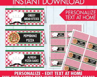 Pizza Party Food Labels - Buffet Tags - Name Placecards, Pizza Party, Pizza Birthday - EDITABLE Text - INSTANT Download Printable PDF