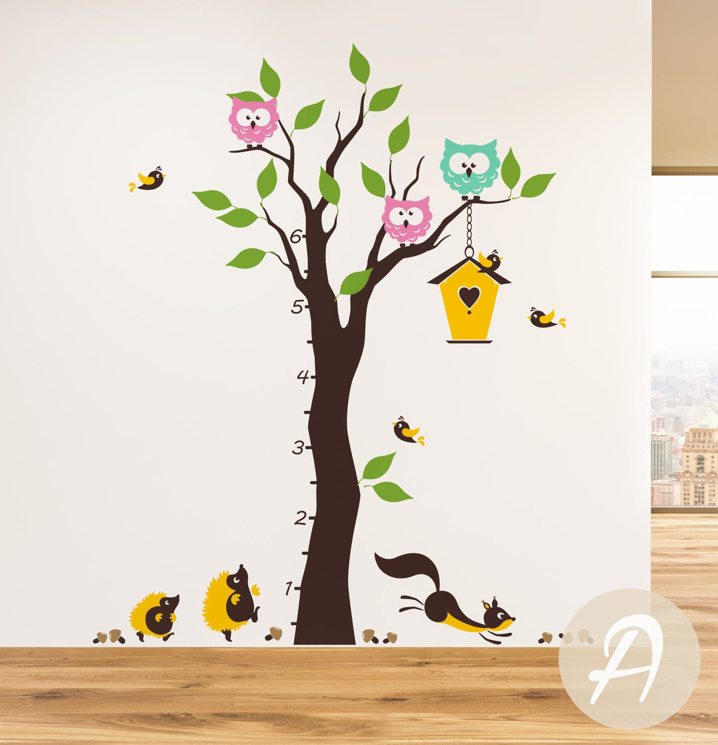 Growth chart colorful tree wall decal wall decal with zoom geenschuldenfo Image collections