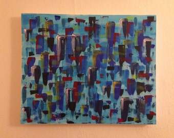 Original abstract acrylic painting on canvas - Metropolis