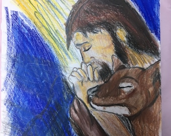 Jesus praying with thylacine original colored pencil drawing