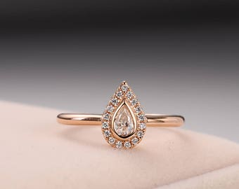 Moissanite engagement ring Rose gold engagement ring Unique Halo Diamond Wedding Pear shaped Bridal set Jewelry Anniversary Gift for Women