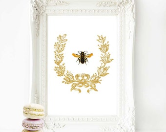 Bee in a gold acorn wreath, French art print, vintage home decor, A4 giclee
