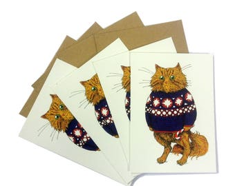 Orange Cat christmas cards set