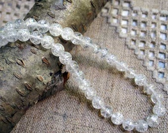 66pcs Crackle Glass Beads 6mm Clear Round 16in