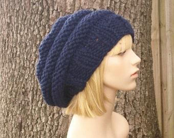 Knit Hat Navy Blue Womens Hat - Original Beehive Beret Hat in Navy Blue Knit Hat - Navy Blue Hat Blue Beret Blue Beanie Womens Accessories