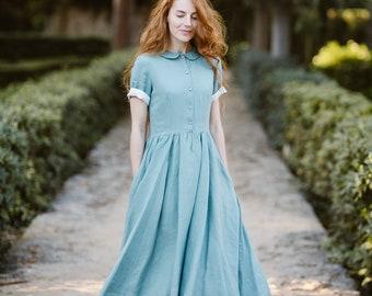 Linen Dress, Modest Dress, Peter Pan Collar Dress, Casual Dress, Day Dress, Knee Length, Flared Dress / Mint Classic Dress SS