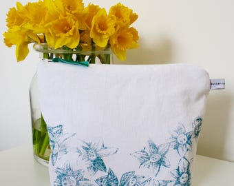 British Designed and Made Narcissi Teal Cotton Wash/Cosmetic Bag