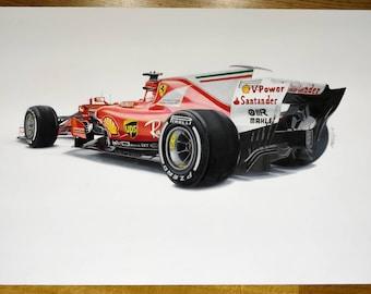Ferrari sf70h original drawing and prints