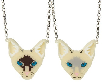 Siamese Cat necklace - laser cut acrylic
