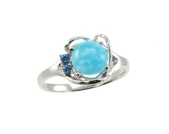 Larimar 8mm Cabochon With Blue Zircons Accent.Ring  925 Sterling Silver.