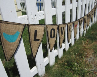 Upcycled Burlap Banner, Love Birds Wedding Banner, Eco Friendly Wedding and Home Decor, Black Letters with Black Felt Backing