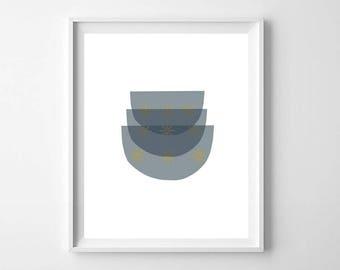 Mid Century Modern Kitchen Art, Printable Art, Kitchen Prints, Kitchen Wall Art, Mid Century Bowls, Stacked Bowl Print, Modern Abstract Art