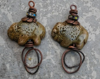 Buffalo totem bead, polymer clay jewelry, earring components