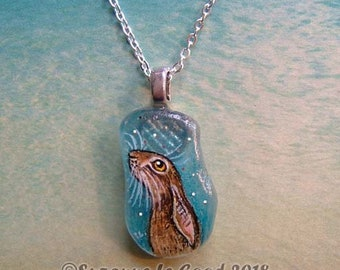 Hare star-gazing pendant genuine Sea Glass painting original jewellery hand painted by Suzanne Le Good