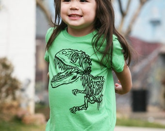 Ready To Ship!!!! Dinosaur on Grass Green American Apparel T Shirt