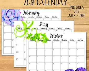 printable desktop calendar 2018