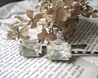 antique rhinestone hairpins, rhinestone bobby pins, simple, boho bridal hair. Softly Shining.