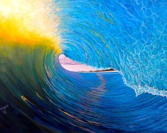 "Surf Art/ Wave Painting/ IN THE VAULT 24"" x 36"" Giclee on Canvas Print/ Fine Art Original/Surf Painting"