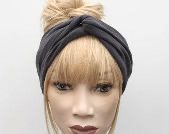 Dark grey cotton slub T shirt jersey turban twist headband