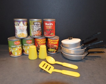 Vintage Pretend Play Can Goods and Cookware