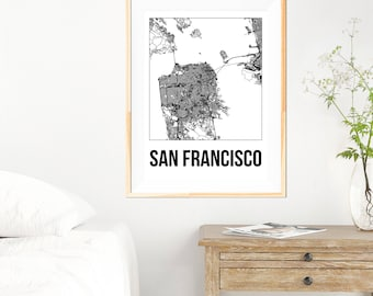 San Francisco City Map Print - Black and White Minimalist City Map - San Francisco Map - San Francisco Print - Many Sizes/Colours Available