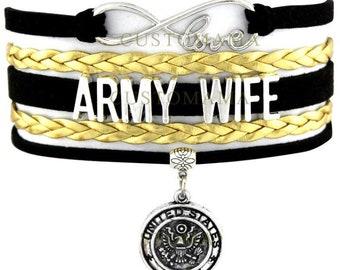 United States Army Wife Adjustable Wrap Bracelet