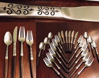 Danish Modern flatware Set, service for 6, Interpur flatware, Canoe Muffin design, embellished metal shaft, Faux Wood handle, Gift for Her