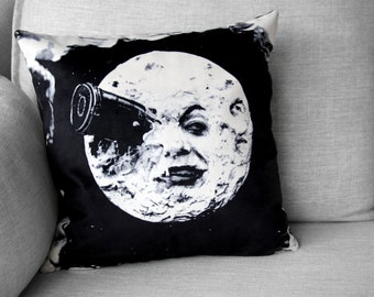 "le voyage dans la lune - 18"" velveteen pillow case - french silent film -Georges Méliès, 1902"