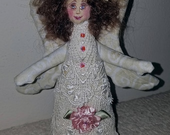Sweet fiber sculpted Victorian Angel, silk face, lace trim