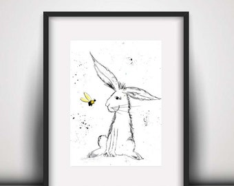 Giclee print, Rabbit watercolour PRINT, rabbit and bee, watercolour painting, rabbit illustration, rabbit art print, hare, baby room decor