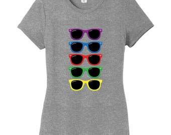 Colorful Sunglasses Women's Fitted T-Shirt