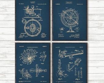 Astronomy Set of 4, Astronomy Gift, Telescope Poster, Space Wall art, Space gift, Telescope print, Astronomy art, Patent prints