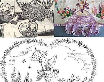 Southern Belle - Crinoline Lady pillowcase crochet & embroidery pattern mo2856
