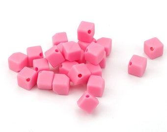10 beads in pink square silicone pacifier. 9 mm