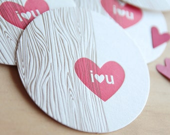 SIX valentines day Letterpress Coaster I heart u with faux bois, gift for hostess, table decoration, wedding decor, wood grain detail