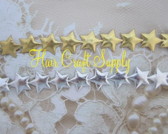 GOLD or SILVER STAR trim to make headbands for all ages, halo, crafts, puffy stars trim