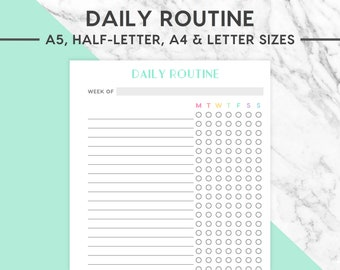 NEW! DAILY ROUTINE Printable | Pastel, Weekly Routine, Daily Checklist, Morning Routine, Night Routine, Cleaning Routine