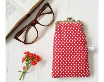Polka-dot Clutch bag-Valentine's Day gift-years 50-purse glasses-cell phone case with snap closure-women wallet