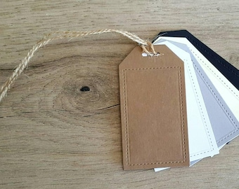 25 Stitched Luggage Tags / Blank Tags / Gift Tags / Thank you Tags / Price Tags / Favor Tags / Drink Tags / Wedding Tags / Birthday Tags