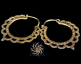 Brass Earrings - Brass Hoops - Gypsy Earrings - Tribal Earrings - Ethnic Earrings - Indian Earrings - Tribal Hoops - Indian Hoops (EB16)