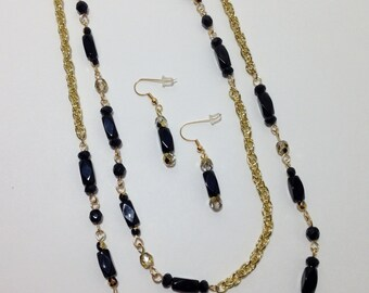 Extra Long Necklace, Black, Gold, Faceted Glass, Chain, Fire Polished Glass, Continuous Strand Necklace, Earrings