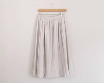Vintage Cream Pleated Midi Skirt/Medium Large