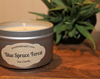 Blue Spruce Forest Soy Candle, 8 oz Tin, Container Candle, Soy Wax Candle, Scented Candle, Home Decor Candle